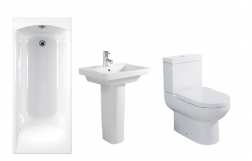 Eastbrook Linea Bathroom Suite Inc Carron Delta Bath & Panel - Various Sizes